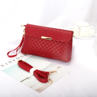 Small Square casual bag female women's bag handbag (Wine red color)
