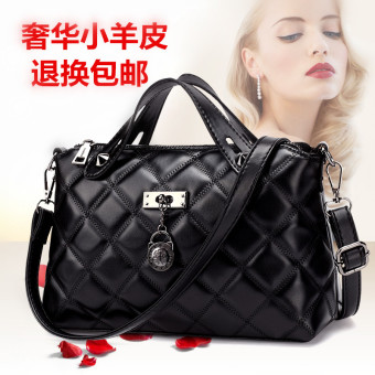 Small Square genuine Women's bag New style women's bag (Black with leather strap + chain)