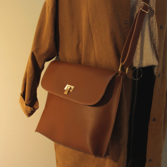 Small Square Jianyue Shishang women's bag shoulder bag sling bag Crossbody Bag (Chocolate brown)