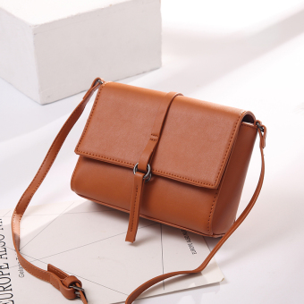 Small Square Korean-style female New style chain shoulder bag small bag (Elegant Brown small)