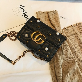 Small Square Korean-style female New style retro riveted chain bag (Black)