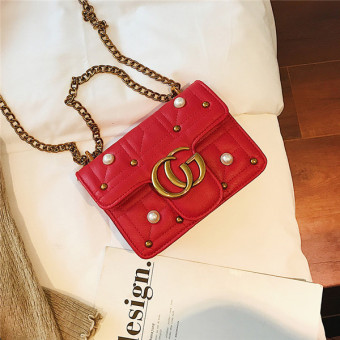 Small Square Korean-style female New style retro riveted chain bag (Red)