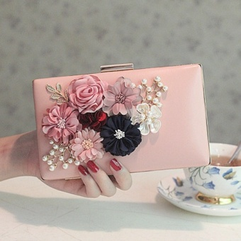 Small Square Korean-style New style pearl chain sling bag Crossbody Bag flower bag (607 pink)
