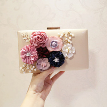 Small Square Korean-style New style Pearl clutch bag flower bag (Beige)