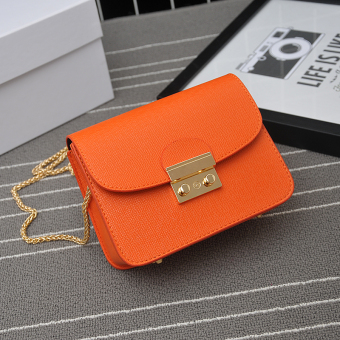 Small Square Korean-style winter New style student women's bag chain messenger bag (Orange)
