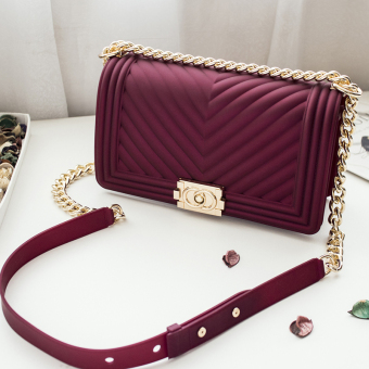 Small Square lock bag Lingge women's bag New style bag (Wine red color)