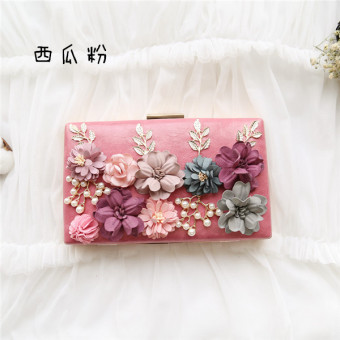 Small Square Shishang chiffon flowers clutch bag New style bag (Watermelon Red)