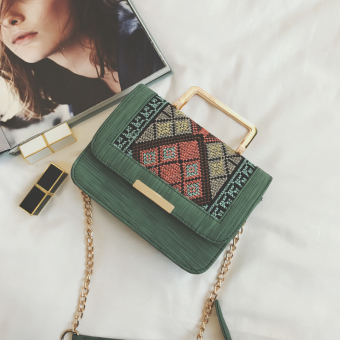 Small Square Stylish autumn New style chain bag handbag (Green)