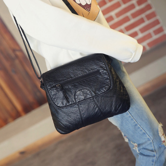 Small Square versatile soft leather washed women's bag New style women's bag (Black)