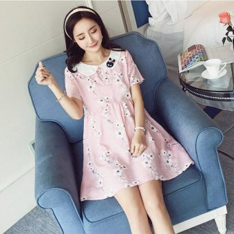 Small Wow Maternity Cute Doll Collar Print Linen Loose Above Knee Dress Pink - intl