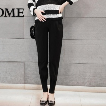 Small Wow Maternity Daily Loose Solid Color Standare Cotton Long Pants for Autumn Black - intl