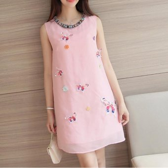 Small Wow Maternity Daily Round Print chiffon Loose Above Knee Dress Pink - intl