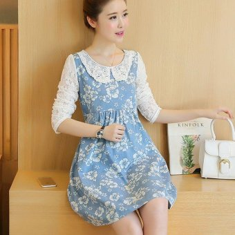 Small Wow Maternity Elegant Doll Collar Print Lace Loose Above Knee Dress Blue - intl