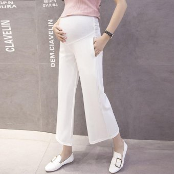 Small Wow Maternity Fashion Loose Solid Color Thin Cotton Cropped Pants for Summer White - intl