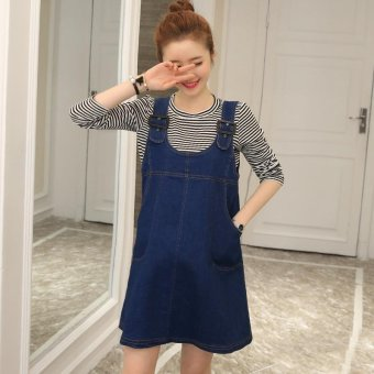 Small Wow Maternity Fashion Round Solid Color Cotton Above Knee two-piece Dress Blue - intl - 2