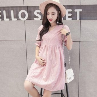 Small Wow Maternity Fashion V-neck Solid Color Cotton Loose Above Knee Dress Pink - intl