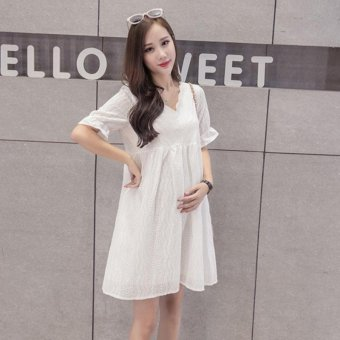 Small Wow Maternity Fashion V-neck Solid Color Cotton Loose Above Knee Dress White - intl - 2