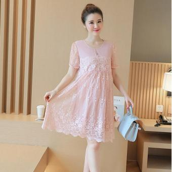 Small Wow Maternity Going Out Round Solid Color Lace Above Knee Dress Pink - intl
