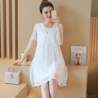 Small Wow Maternity Going Out Round Solid Color Lace Above Knee Dress White - intl
