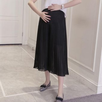 Small Wow Maternity Korean Loose Solid Color Thin Chiffon Wide Leg Pants for Summer Black - intl