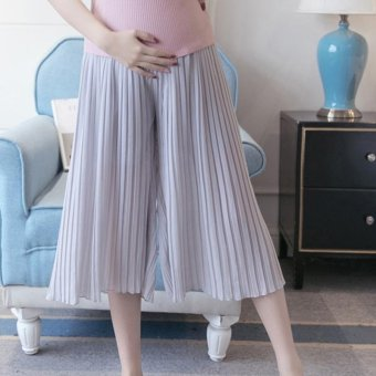 Small Wow Maternity Korean Loose Solid Color Thin Chiffon Wide Leg Pants for Summer Grey - intl