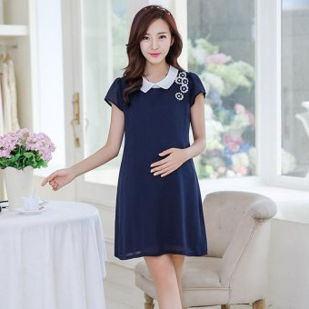 Small Wow Maternity Korean Turn-down Collar Solid Color chiffon Above Knee Dress Dark Blue - intl