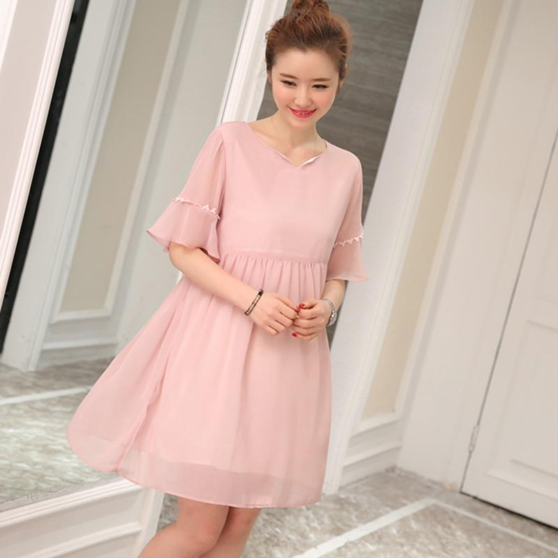 ... Small Wow Maternity Korean V-neck Solid Color chiffon Above Knee Dress Pink - intl ...