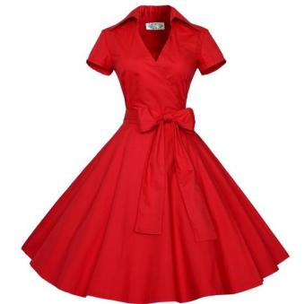 Small wow Women's Short Sleeve Cute Solid Color Slim Dress Skirt Red - intl Price Philippines