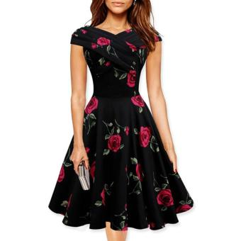 Small wow Women's Sleeveless Fashion Print Slim Party Midi Dresses Red - intl Price Philippines