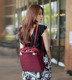 SMINICA High Quality Backpack Women 2017 Oxford Embossed Fashion Black Brand Back Pack School Bag For Teenagers Girls Bagpack(Burgundy) - intl