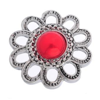 Snap Button Fit Bracelet Hollow Red Venetian Pearl Flower 22x23mm