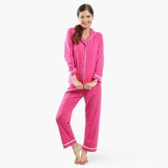 Snooze Button-Down Pajama Set (Fuchsia)