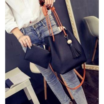 SNS Korean 2 in 1 Bucket Bag and Make up Pouch Sling Bag (Black) - 2