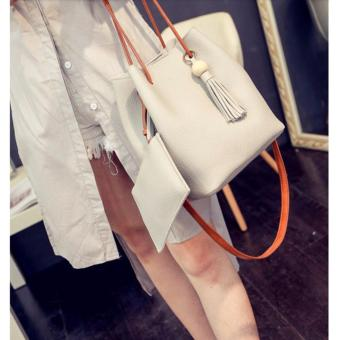 SNS Korean 2 in 1 Bucket Bag and Make up Pouch Sling Bag (Grey) - 2