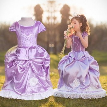 Sofia Princess Girls Dress Floral Wedding Party Costume Dress(Purple) - intl
