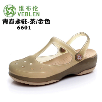 Soft bottom non-slip jelly women's slippers genuine hole shoes (Tea/gold)