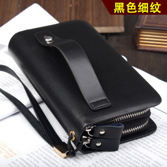Soft leather New style business Shishang handbag (With handle black fine lines)