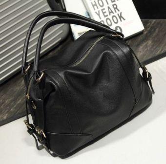 Soft leather spring and handbag large bag Shishang women's bag (Black)