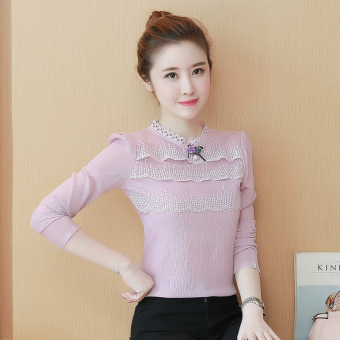 Soft sweet elegant flounced chiffon shirt (Pink long-sleeved) (Pink long-sleeved)