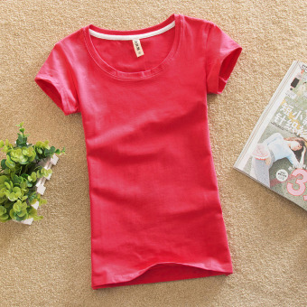 Solid color female Slim fit bottoming shirt New style Top (Watermelon red)