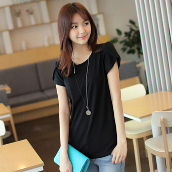 Solid color female T-shirt Short sleeve Top (Black)