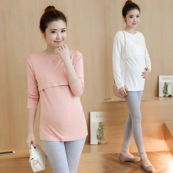 Solid color long-sleeved round neck mid-length T-shirt feeding breastfeeding clothes (White)