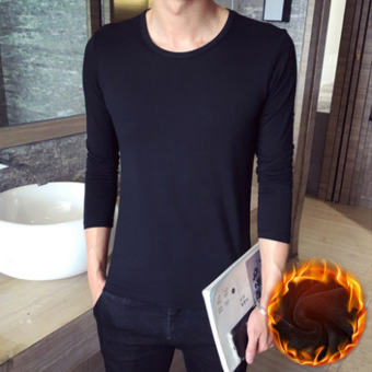 Solid color men v-neck base shirt T-shirt (Round neck long-sleeved Plus velvet-black) Price Philippines