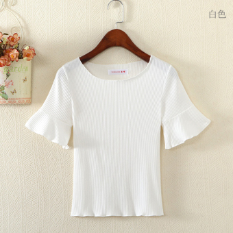 Solid color short-sleeved female Slim fit knit shirt T-shirt (White)