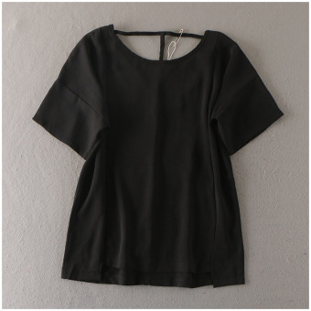 Solid color short sleeved pullover chiffon shirt loose Top (Black t-shirt)