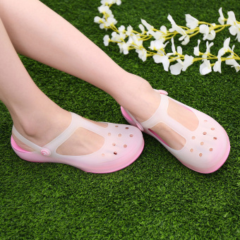 Solid color thick bottomed jelly sandals porous shoes (Malizhen-pink)