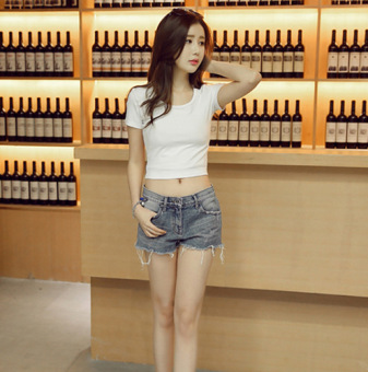 Solid color women slim fit high waist bottoming shirt summer Top (White)