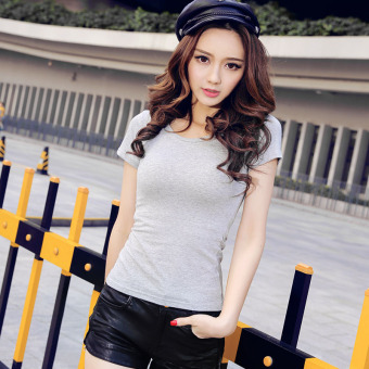 Solid color women Slim fit Short sleeve wild bottoming shirt New style short-sleeved t-shirt (Light gray color round neck)