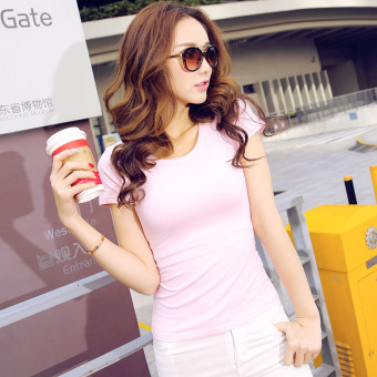 Solid color women Slim fit Short sleeve wild bottoming shirt New style short-sleeved t-shirt (Pink color round neck)