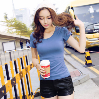 Solid color women Slim fit Short sleeve wild bottoming shirt New style short-sleeved t-shirt (Sky Blue round neck)